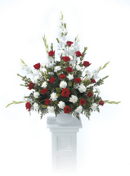 Red and White Pedestal arrangement from Kircher's Flowers in Defiance and Paulding, OH