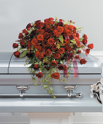 Rose and Ivy Casket Spray from Kircher's Flowers in Defiance and Paulding, OH