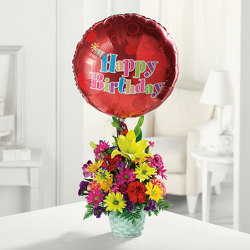 Happy Birthday Basket from Kircher's Flowers in Defiance and Paulding, OH