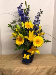 Go Blue Bouquet from Kircher's Flowers in Defiance and Paulding, OH