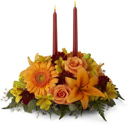 Bright Autumn Centerpiece from Kircher's Flowers in Defiance and Paulding, OH